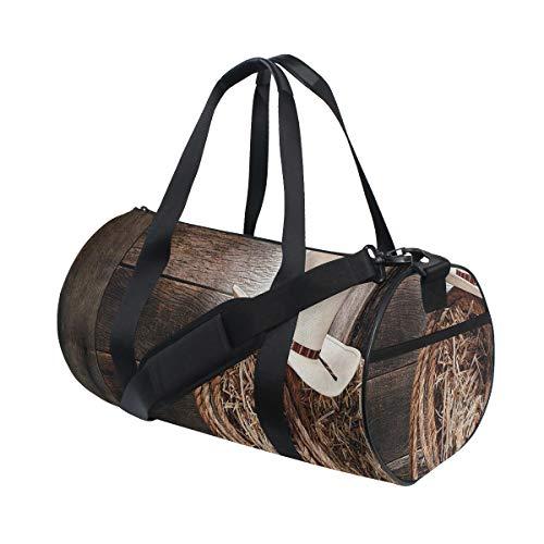 ZOMOY Sporttasche,Western Holz Volk Robe Hut,Neue Bedruckte Eimer Sporttasche Fitness Taschen Reisetasche Gepäck Leinwand Handtasche