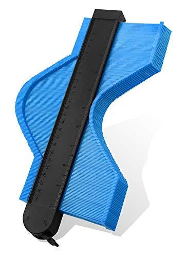型取りゲージ, コンターゲージ最新の拡張バージョンストッパー付 測量工具 曲線定規 不規則な測定器測定ゲージセット250mm輪郭ゲージ タイルタイリング/カーペット/ラミネート/木材に適用 ABSプラスチック製 -青い