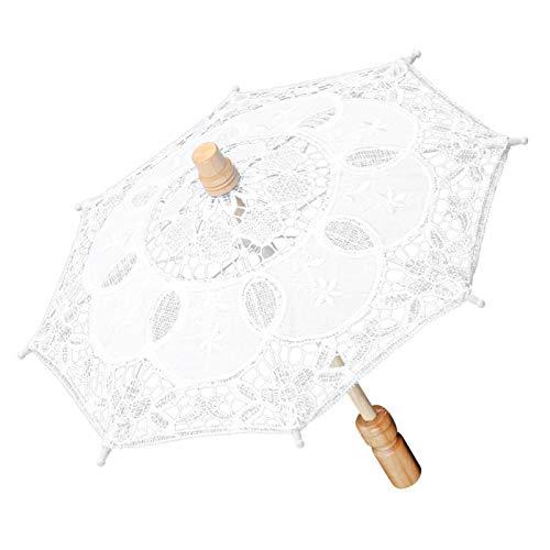 Okuyonic Material Suave del cordón del Paraguas Nupcial del Paraguas del Arte para Las Celebraciones de Las Bodas para Decorar el hogar(White Trumpet, Blue)