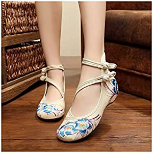 Fashion Women Shoes Old Beijing Flats with Casual Shoes Chinese Style Embroidered Cloth Shoes Plus Size,White,5