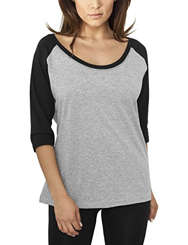 Urban Classics Ladies 3/4 Contrast Raglan tee Camiseta de Manga Larga, Color Gris, XS para Mujer