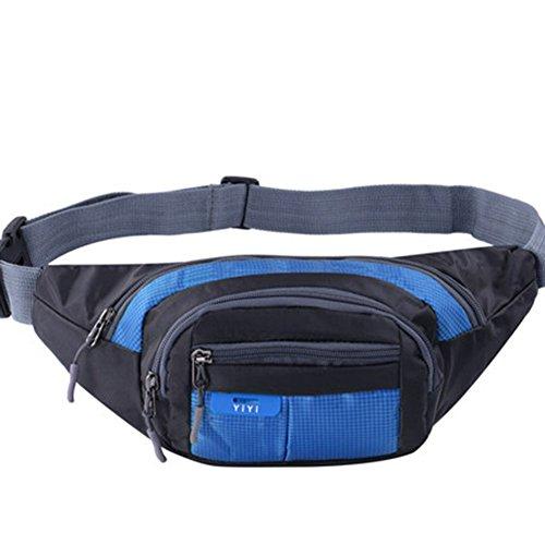 Black Temptation Outdoor Sports Sacs de Taille multifonctionnels pour la Course,la randonnée,Le Cyclisme,Le Camping, Bleu 35x15cm