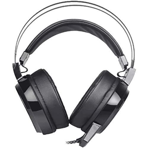 ZDSJJ Juego de Auriculares, estéreo Surround Gaming Auriculares, micrófono con cancelación de Ruido de luz LED y Control de Volumen for PC PS4 Juego de Auriculares (Color : Black)