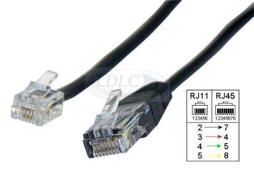 Goobay 10X 68530 Modularanschlusskabel, 3 m, Schwarz - RJ45-Stecker (8P4C) > RJ11/RJ14-Stecker (6P4C)