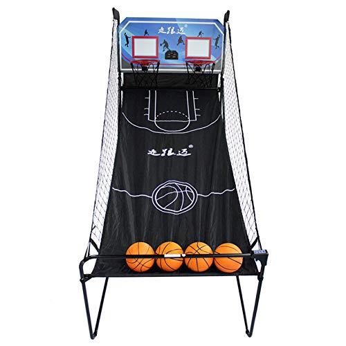 LXLA Juego de Baloncesto Juego de Arcade de Baloncesto Interior Plegable, Aro de Baloncesto Electrónico de Doble Tiro para Adultos/Niños/Familia, 8 Modos de Juego y 4 Bolas Incluidas