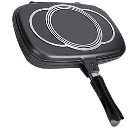 Bistecchiera a doppia faccia Antiaderente Doppia griglia per frittata Padella con manico magnetico Padella in ceramica per feste per feste Griglia per torte all'aperto Utensili da cucina,-44CM