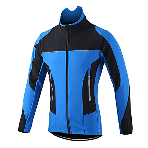 COITROZR Chaqueta Bicicleta Hombre Mujer Invierno Chaqueta MTB Hombre Térmico Softshell Impermeable Reflectante Transpirable Ropa Ciclismo Invierno para Exterior MTB Ciclismo Correr,Azul,S