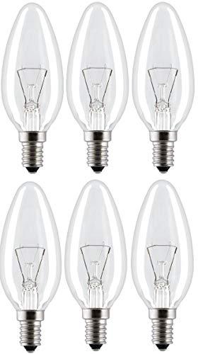 Klassische Glühbirne, Kerzenform, 40 W, kleine Edisonfassung SES E14, 390 Lumen, transparent, 240 V, 6 Stück