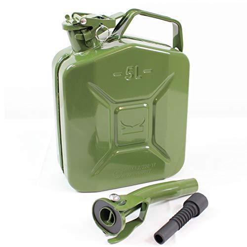 TRUTZHOLM® Benzinkanister Kraftstoffkanister Metall 5 Liter Olivgrün inkl. Ausgießer mit UN-Zulassung - Kanister für Benzin und Diesel