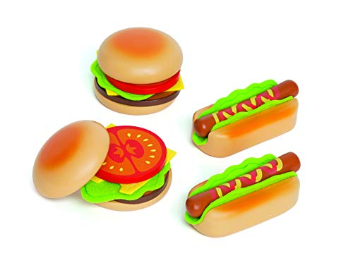 Hape - E3112 - Jeu d'Imitation en Bois - Cuisine - Hamburgers Et Hotdogs