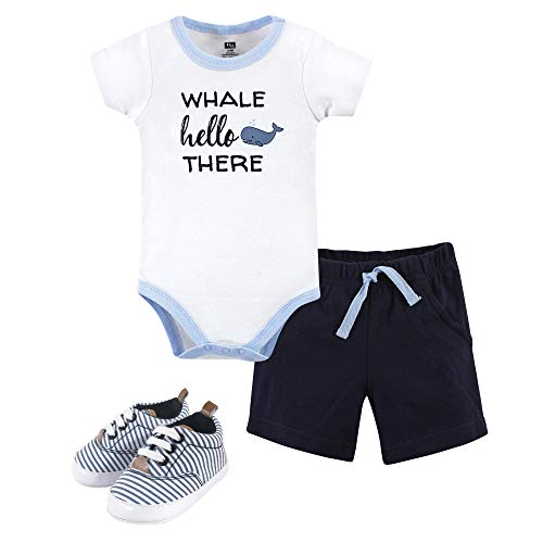 Hudson Baby Unisex Baby Cotton Bodysuit, Shorts and Shoe Set, Whale Hello, 12-18 Months