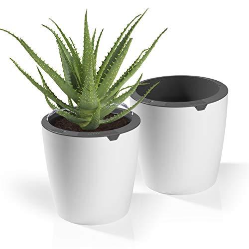 LAZY LEAF Blumentopf mit Bewässerungssystem - Ø 27,5 cm | 10 Bewässerungsstufen für die perfekte Wassermenge | Mit Tageslichtsensor und Touch-Control (2 Töpfe)