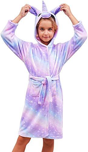Ruiuzioong Accappatoio Morbido per Bambini Unicorno Pigiama in Pile con Cappuccio Vestaglia Lussuosa Caldo Indumenti da Notte Comodi Carino Loungewear Vestaglia (Shine Purple Stars, 10-11 Anni)