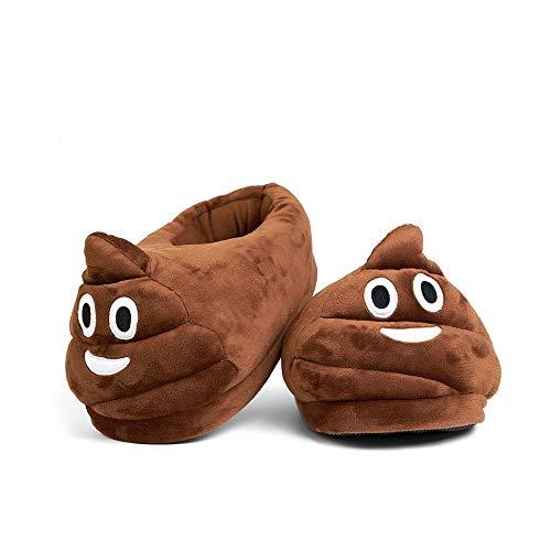 Desire Deluxe Chaussons Emoticon Poo Rigolo en Forme de Crotte – Pantoufles intérieur d'hiver peluche smiley – Taille universelle 35 à 43 pour enfants, filles, garçons, adultes