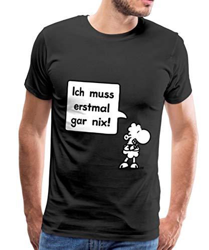 Sheepworld Ich muss erstmal gar nix! Männer Premium T-Shirt, 3XL, Schwarz