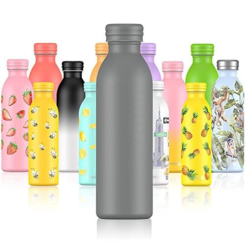 Botellas de doble pared aislada botella de agua de acero inoxidable 600ml reutilizable