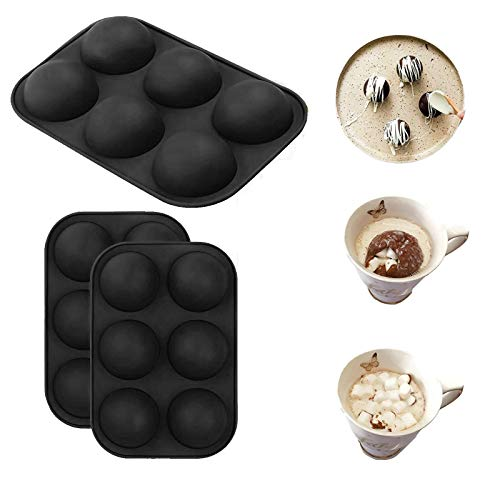 Silicone Mold For Hot Chocolate Bomb, Cake, Jelly, Pudding, Handmade Soap, Round Shape 6 Cavity Silicone Mold for Making Chocolate Bomb, Cake, Jelly, Dome Mousse (2PCS/Black)