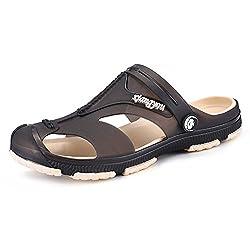 BAINASIQI Herren Sommer Sandalen Slippers Herren Clogs Schuhe Freizeit Sandalen Outdoor Strand Pantoffeln (EU 43, Grau)