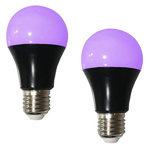 Bombillas de luz ultravioleta negra E27, 8 W, luz negra, violeta, neón, luz negra UV, lámpara fluorescente uv, para fiesta de Halloween pintura corporal de discoteca de Navidad, paquete de 2