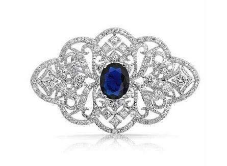 onweerstaanbaar1 Blauwe Saffier Gegraveerde Broche Pin In Wit Goud Met Heldere Oostenrijkse Kristal Edelstenen