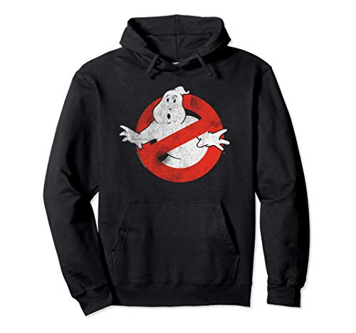 Ghostbusters Distressed No Ghost Logo Black Hoodie, Unisex, S to 2XL