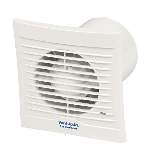 VENT-Axia 100 horas 6 W LoCarbon de silueta de Extractor con higrostato de baño cuarto de baño