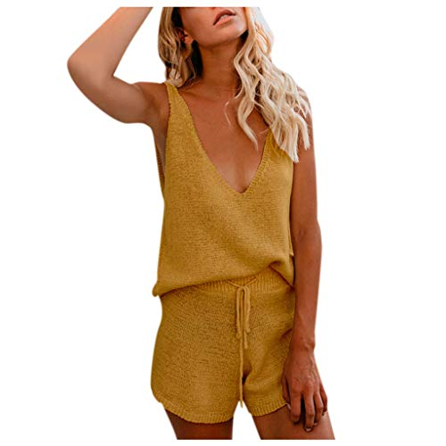 AOGOTO Damen 2 Stück Trainingsanzug Top Bottoms Loungewear Sweatshirt Sweater Weste einfarbig ausgehöhlt Set