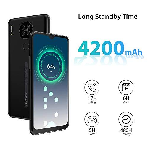 Smartphone Débloqué 4G, Blackview A80 Téléphone Portable Pas Cher (Écran Waterdrop 6.21 Pouces, Quad Caméra Arrière 13MP, Android 10 GO, 2Go+16Go-SD 128Go, Batterie 4200mAh) Telephone Face ID/GPS-Noir