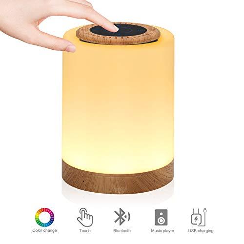 Luz nocturna con altavoz Bluetooth, lámpara de cabecera con sensor táctil inteligente, (regulable 3 niveles de luz blanca cálida y cambio de color de RGB, compatible con Micro SD)