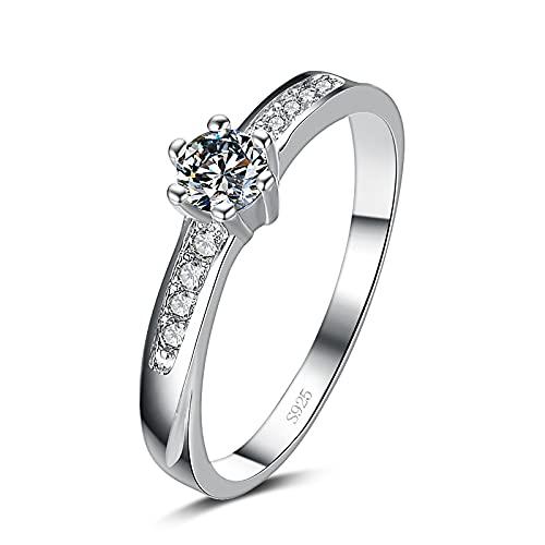 Anillo ZIYUYANG , Anillo de bodas de dedo de plata esterlina con estrella de circonita brillante 8.5 Claro