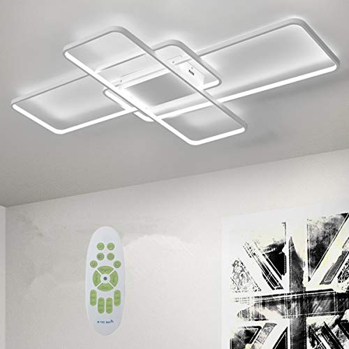 Deevin Moderna Lámpara LED De Techo Para Salón Regulable Pantalla De Acrílico Lámpara De Techo De Diseño Lámpara De Comedor Con Mando A Distancia,Lámpara Colgante Cocina,Blanco,140 * 80cm