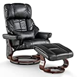 Mcombo Recliner with Ottoman Reclining Chair with Vibration Massage and Lumbar Pillow, 360 Degree Swivel Wood Base, Faux Leather 9068 (Black)