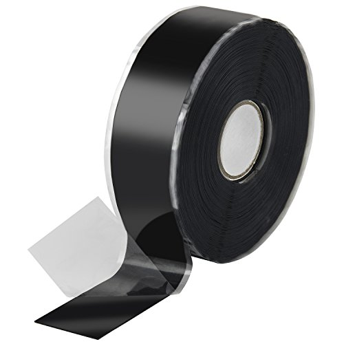 Poppstar 1x 11m selbstverschweißendes Silikonband, Silikon Tape Reparaturband, Isolierband und Dichtungsband (Wasser, Luft), 25mm breit, schwarz