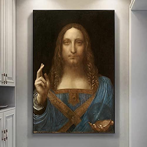 Salvator Mundi Art Portrait Painting Wall Art Picture, Reproducciones de impresión Giclee de Leonardo Da Vinci Famosa sala de estar 70x122cm (27'x48') Sin marco