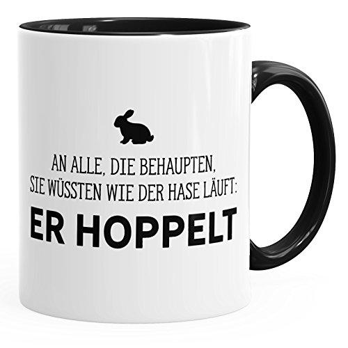 MoonWorks Spruch-Tasse an alle die wissen wie der Hase läuft - er hoppelt Kaffee-Tasse Innenfarbe schwarz Unisize
