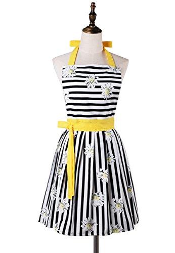 Precioso y cómodo Claccic negro raya y moda margarita falda cocina mujeres delantal para damas niñas esposa hija (amarillo)