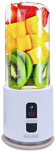 ZHUYUE Copa Exprimidor portátil USB Mini Travel Fruta, Jugo de Personal eléctrico pequeño Mezclador Licuadora Máquina con Botella 4000mAh Batería Recargable de 380 ml de Agua, White (Color : White)