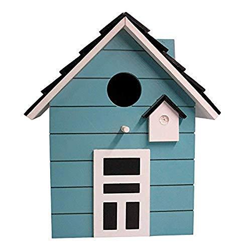 CasaJame Holz Vogelhaus für Balkon und Garten, Nistkasten, Haus für Vögel, Vogelhäuschen, Türkis als Deko, 20 x 17 x 12cm