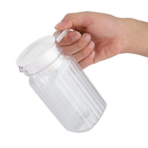 Jarra de Agua 500 litros, jarras de vidrio con asa y tapa para agua, jugo, té helado, limonada y leche, jarra de agua de forma cuadrada