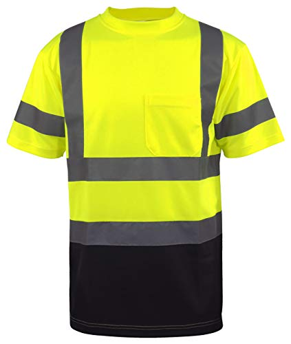 L&M Hi Vis Class 3 T Shirt Reflective Safety Lime Orange Short Long Sleeve HIGH Visibility, Black Bottom (Lime, Large)