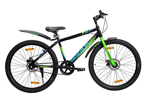 Hercules Flunk RF 26 T Single Speed Road Cycle, Unisex ( Matt Black/Green ,Ideal for : 12+ Years ,Brake : Disc ), Mountain Bike, Frame Size: 17 Inches