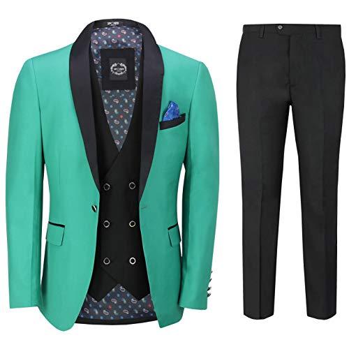 3 Piezas De Smoking Traje Formal del Boda Esmoquin Hombres A Medida Americana Verde Chaleco Pantalones [SUIT-S45-4-27-GREEN-40UK]