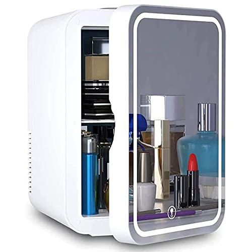 Mini nevera con espejo de maquillaje y luz LED 8L portátil cosméticos refrigeradores con función de refrigeración y calefacción, congelador pequeño 2 en 1 para dormitorio, oficina, coche, Jialele