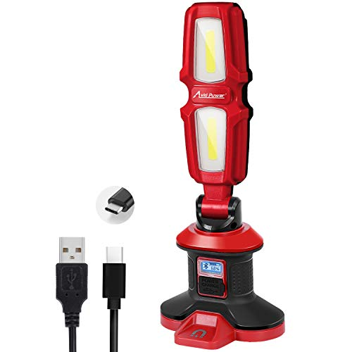 Work Light, 2000 Lumen 20W LED Rechargeable Flashlight, Bluetooth Speaker Function, 4400 mAh with 2 Light Modes, USB Cable Input & Output, Magnetic Base, Rotating Head and Handle, AVID POWER