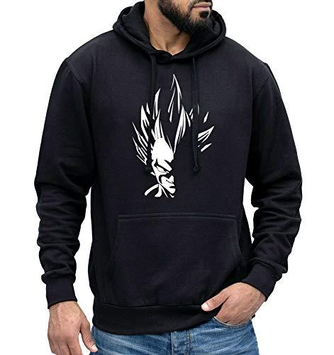 NIUNAI Mens Sweatshirts Vegeta Evil Smirk Hoodie Super Saiyan Anime Pullover Jumper Gym Training Black XL