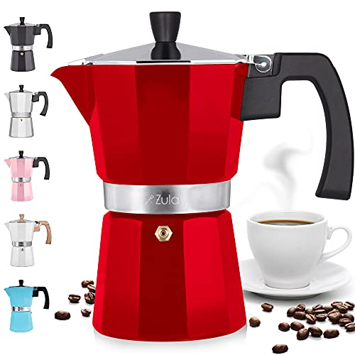 Zulay Classic Stovetop Espresso Maker for Great Flavored Strong Espresso, Classic Italian Style 5.5 Espresso Cup Moka Pot, Makes Delicious Coffee, Easy to Operate & Quick Cleanup Pot (Red)