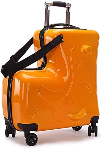 BERTY·PUYI 20-Zoll-Kinderfahrrad-Gepäck, tragbares Universal-Radgepäck Handgepäck, Unisex-Jungen-Mädchen-Reisekoffer mit Schloss-Orange