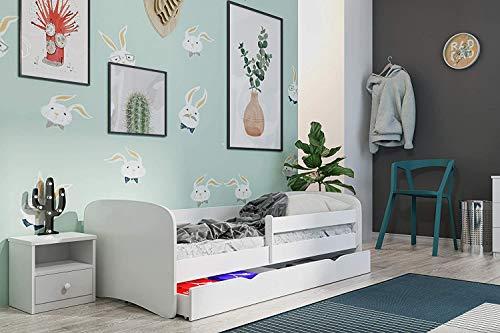 Wonderhome24 Lit Blanc pour Enfants avec Matelas et tiroir Inclus. Lit Enfant, Animaux, Voitures  ,(Blanc,180x80)