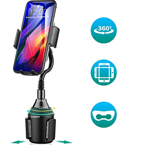 Amwanan Cup Holder Car Phone Mount, 360°Universal Adjustable and Hands-Free Cell Phone Mount with Goose Neck Design Compatible with iPhone, Samsung, Google, LG etc.