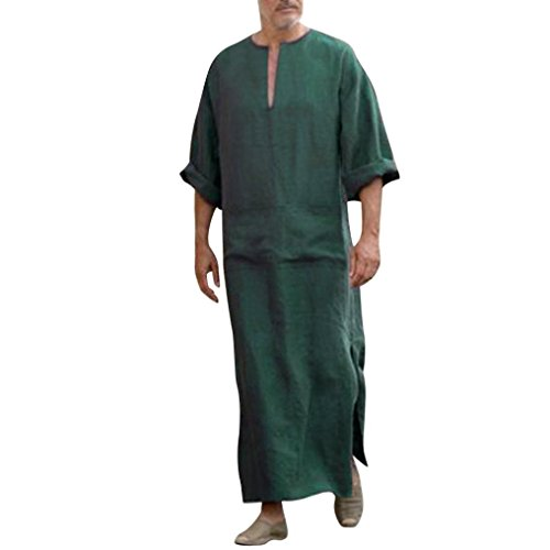 GreatestPAK Lose Herren Ethnic Robes Solid Langarm-lose Vintage-Kleid Kaftan